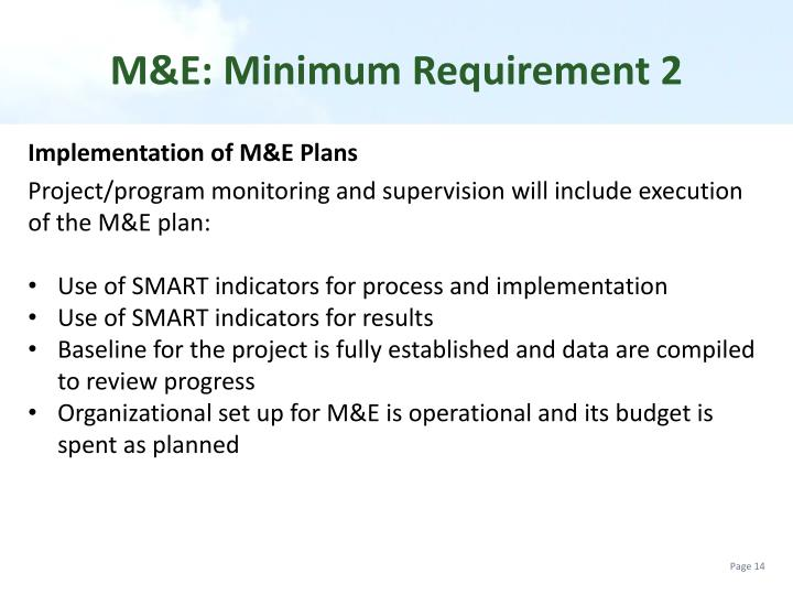 M&E: Minimum Requirement 2