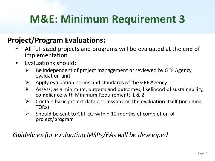 M&E: Minimum Requirement
