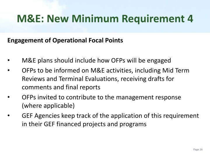 M&E: New Minimum Requirement 4