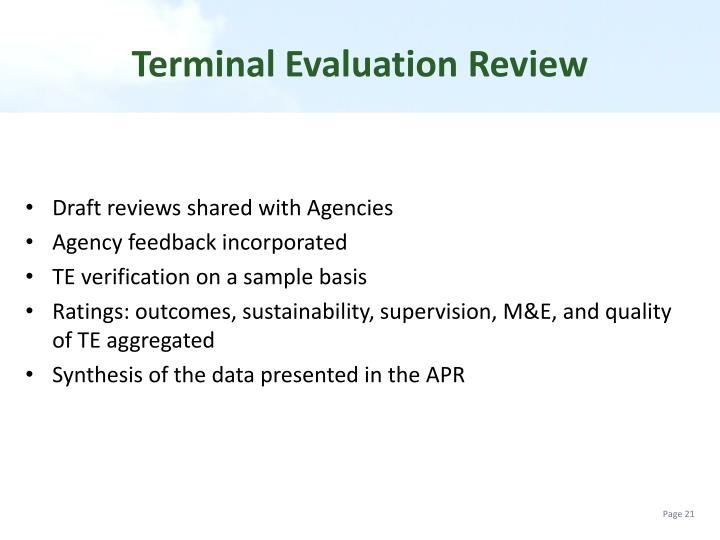 Terminal Evaluation Review