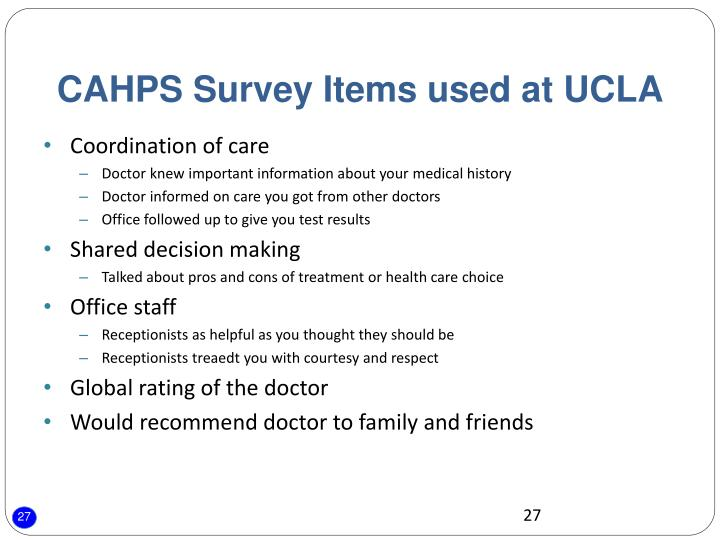 CAHPS Survey Items used at UCLA