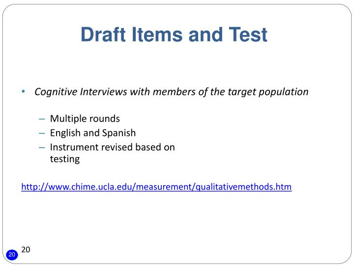 Draft Items and Test