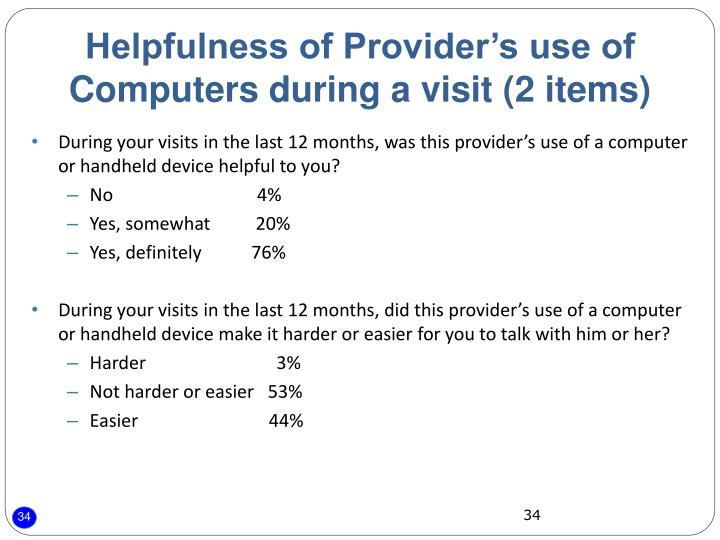 Helpfulness of Provider's use of Computers during a visit (2 items)