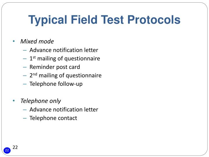 Typical Field Test Protocols