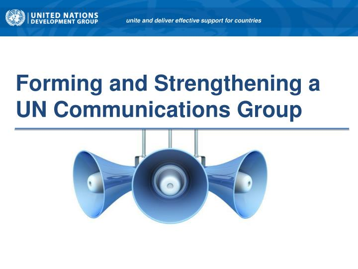 forming and strengthening a un communications group n.