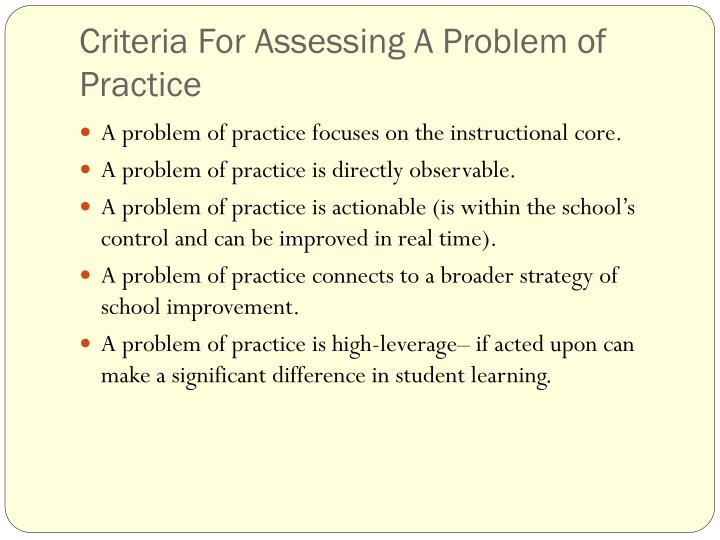 Criteria For Assessing A Problem of Practice