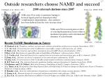 outside researchers choose namd and succeed