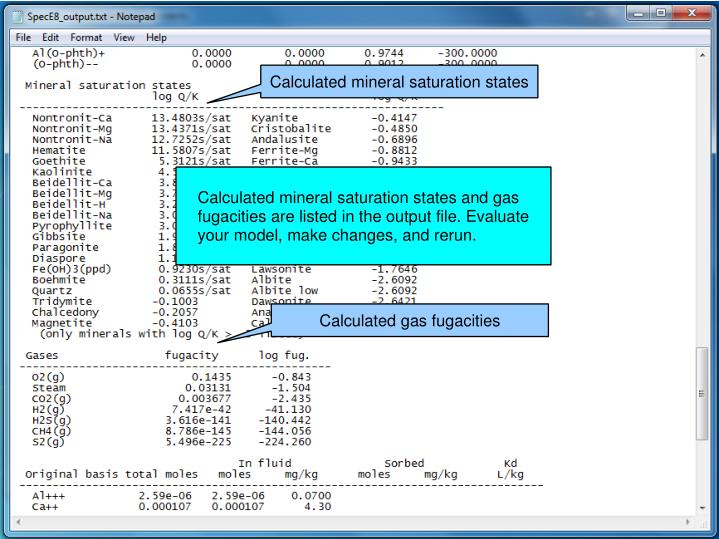 Calculated mineral saturation states