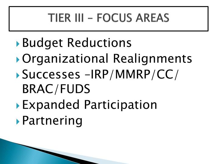 TIER III – FOCUS AREAS