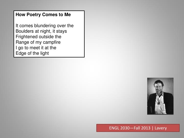 How Poetry Comes to Me