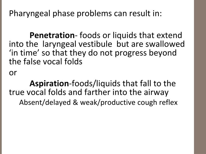Pharyngeal phase problems can result in: