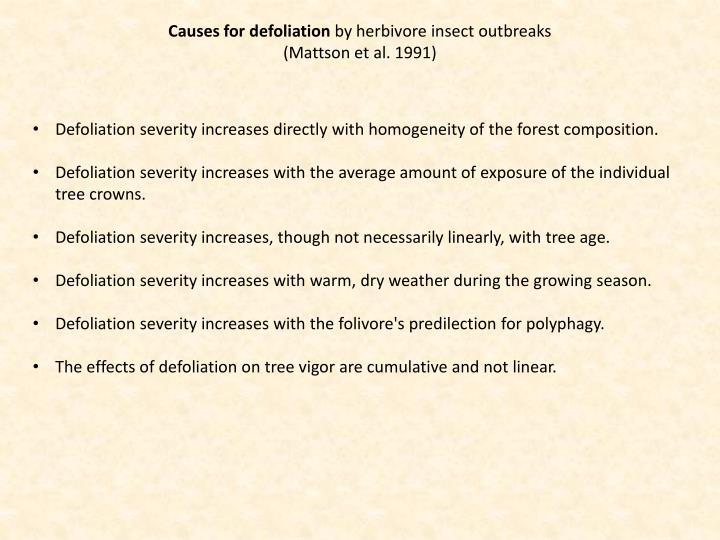Causes for defoliation
