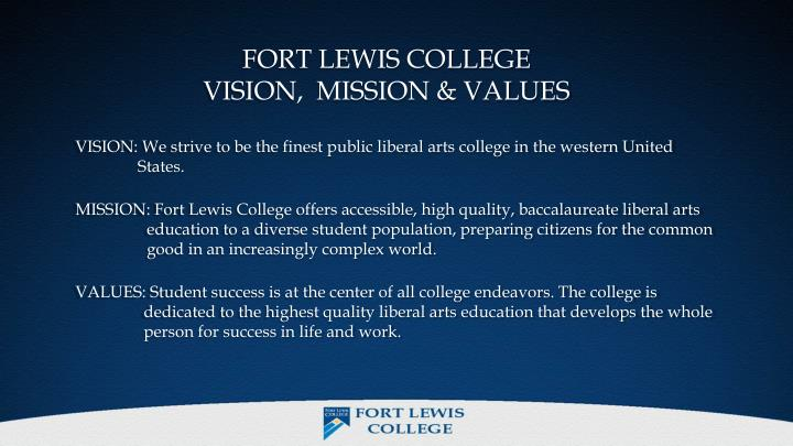 fort lewis college vision mission values n.