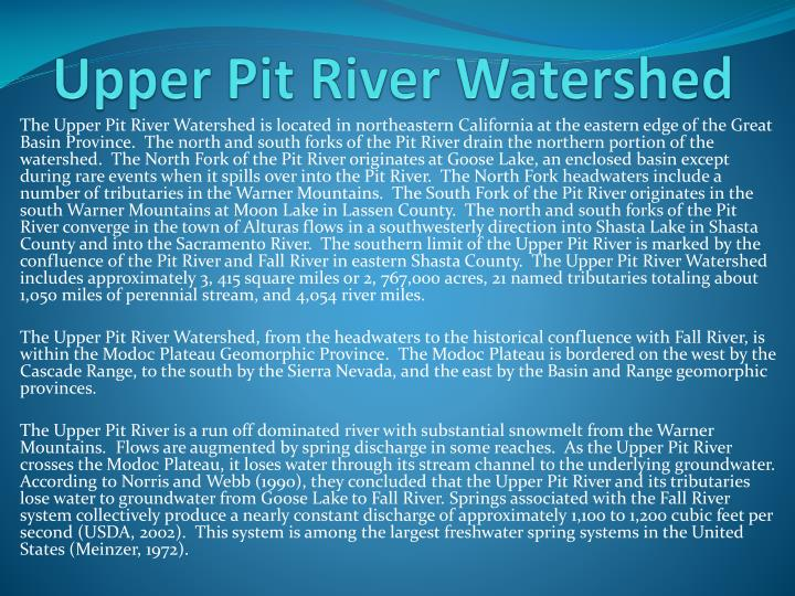 Upper pit river watershed