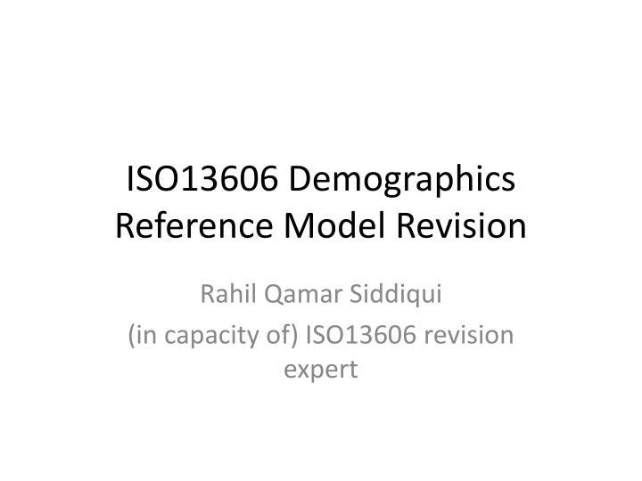 iso13606 demographics reference model revision n.