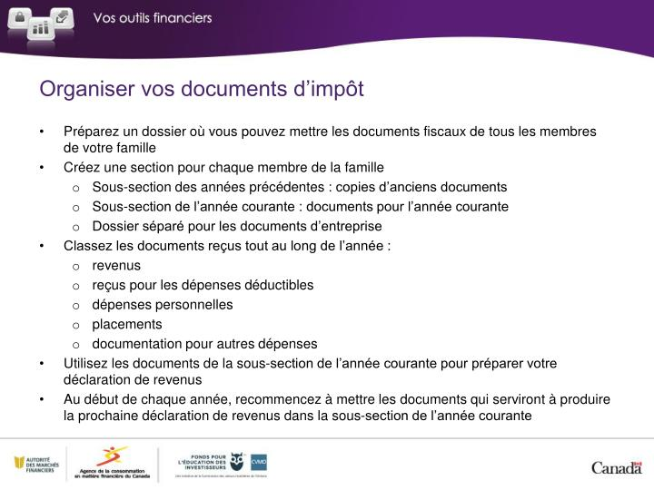 Organiser vos documents d'impôt