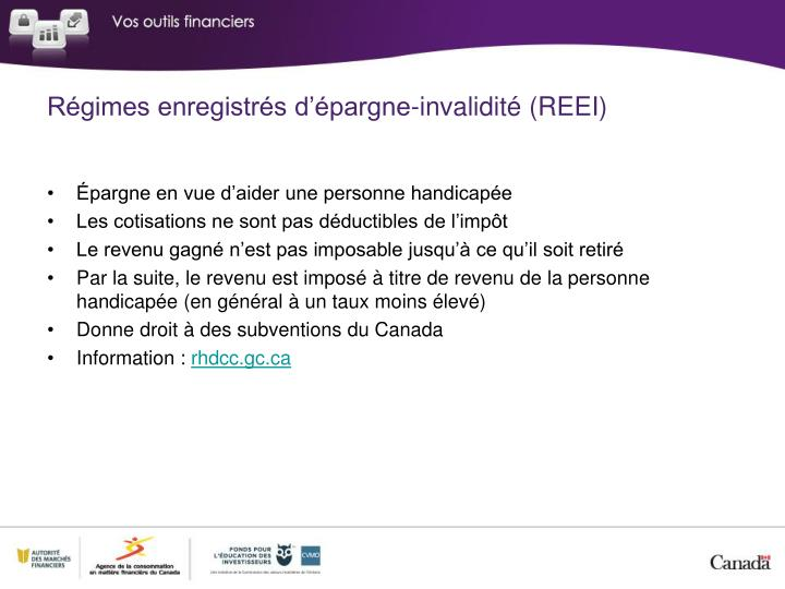 Régimes enregistrés d'épargne-invalidité (REEI)