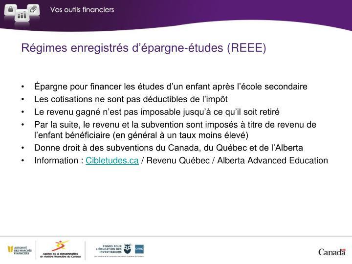 Régimes enregistrés d'épargne-études (REEE)