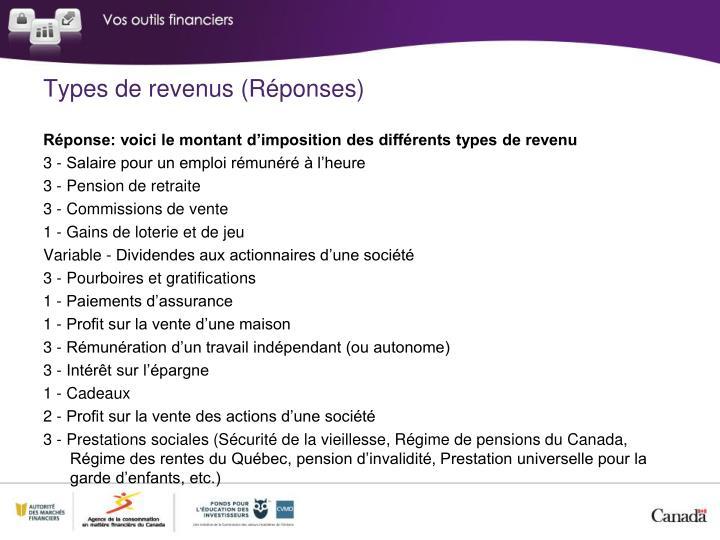 Types de revenus (Réponses)