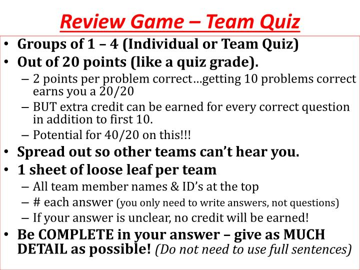 Review Game – Team Quiz
