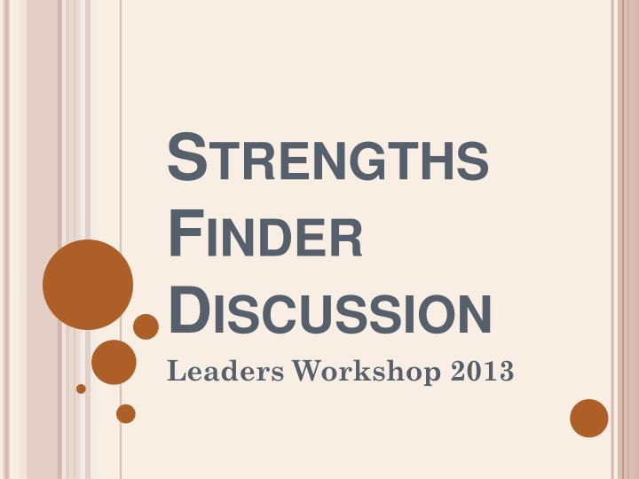 strengths finder discussion n.