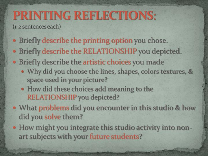PRINTING REFLECTIONS