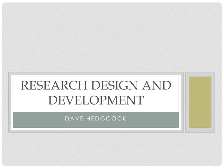 research design and development n.
