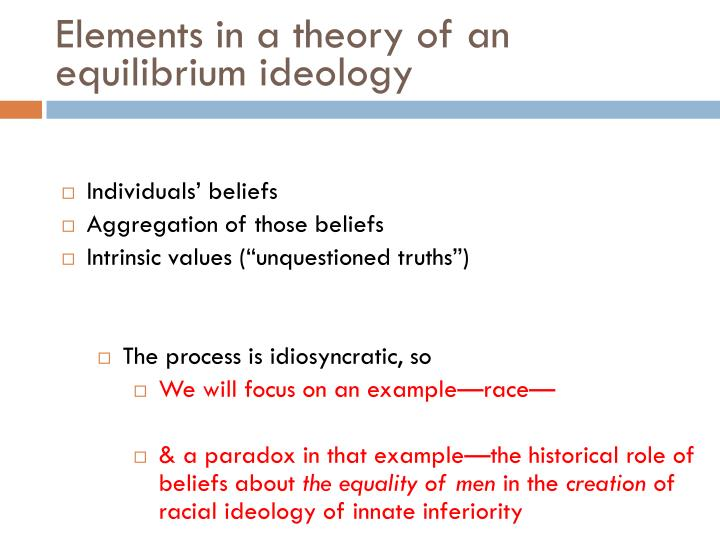 Elements in a theory of an equilibrium ideology