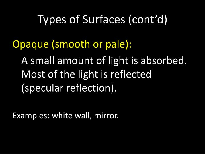 Types of Surfaces (cont'd)