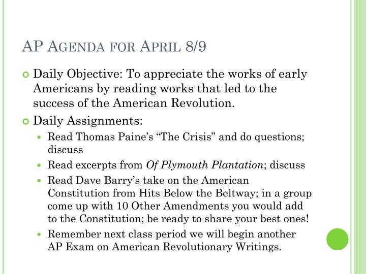 AP Agenda for April 8/9