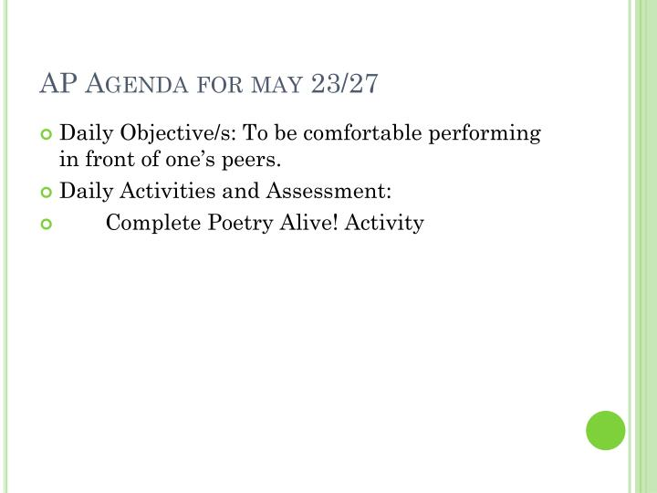 AP Agenda for may 23/27