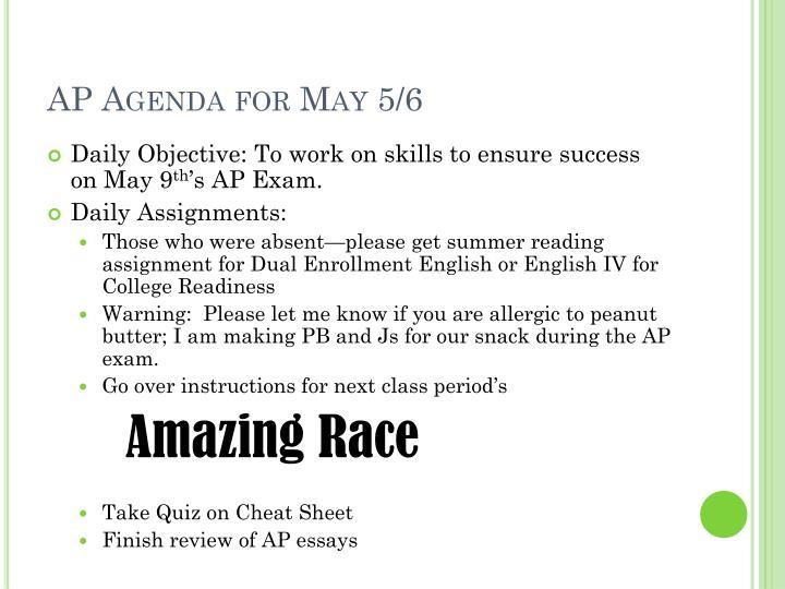 AP Agenda for May 5/6