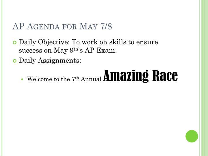 AP Agenda for May 7/8