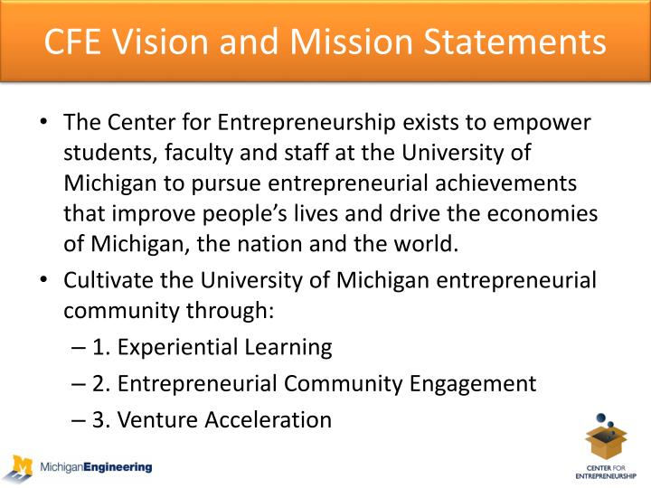 Cfe vision and mission statements