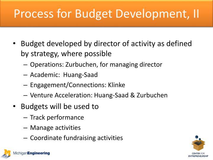 Process for Budget Development, II