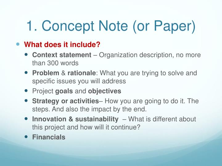1. Concept Note (or Paper)