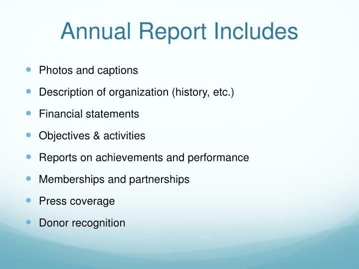Annual Report Includes