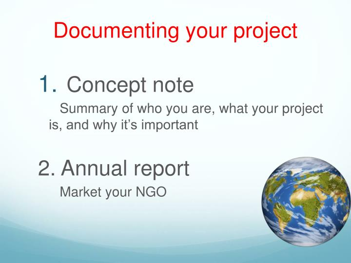 Documenting your project