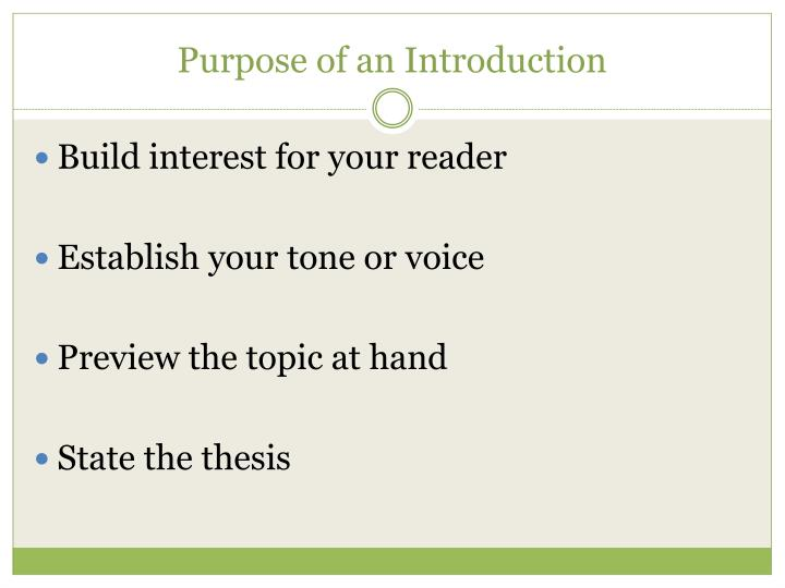 Purpose of an introduction