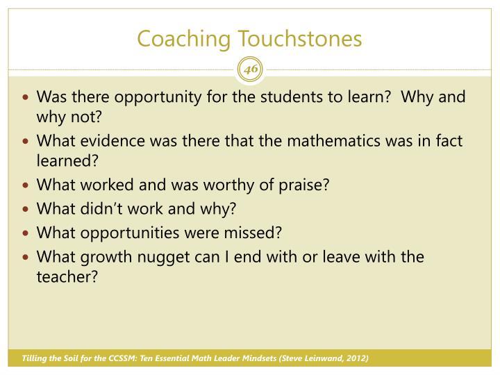 Coaching Touchstones