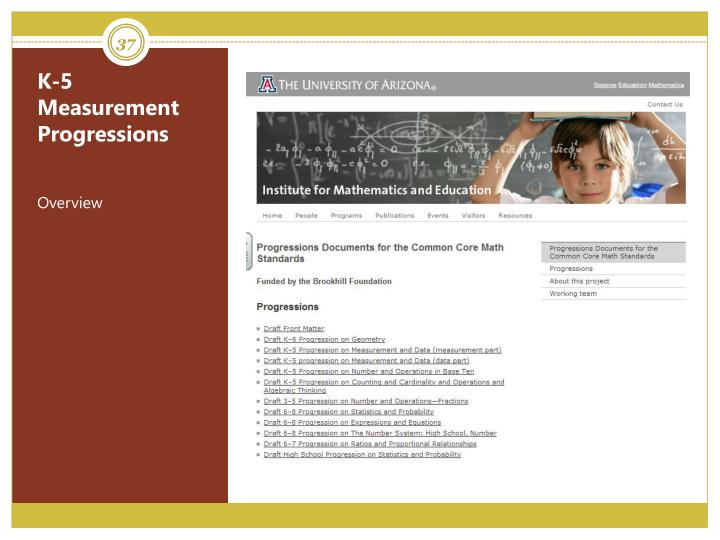 K-5 Measurement Progressions
