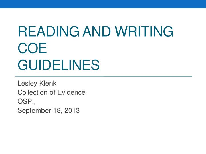 reading and writing coe guidelines n.