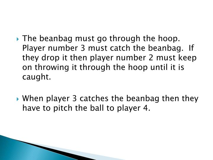 The beanbag must go through the hoop.  Player number 3 must catch the beanbag.  If they drop it then player number 2 must keep on throwing it through the hoop until it is caught.