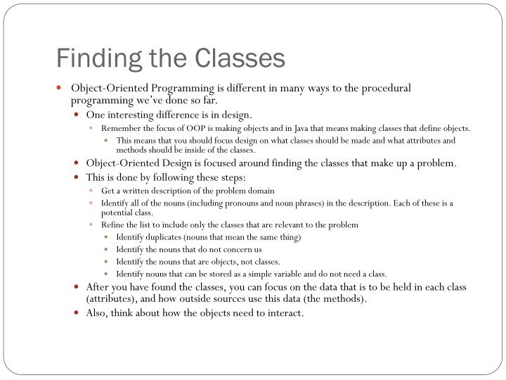 Finding the Classes
