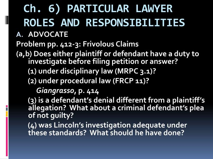 ch 6 particular lawyer roles and responsibilities n.