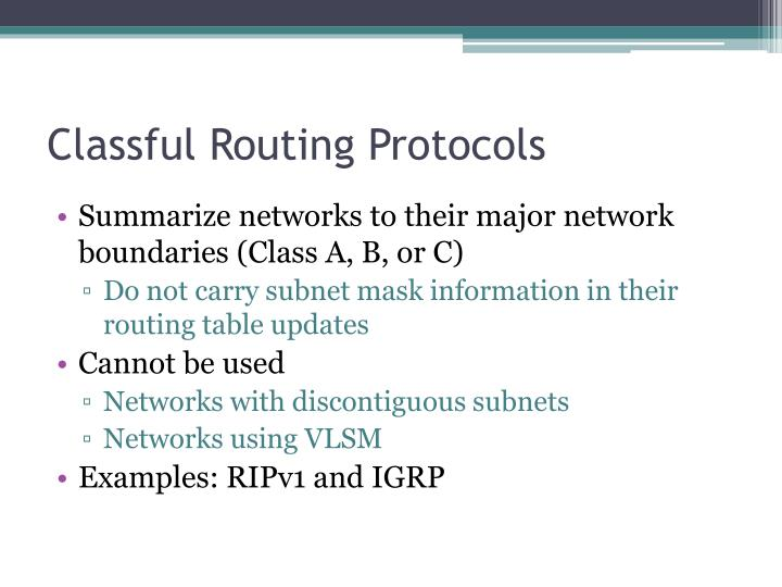 Classful routing protocols