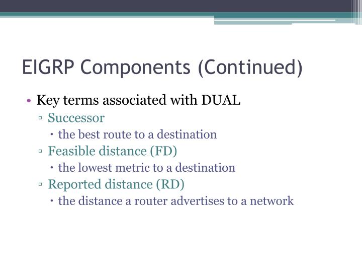 EIGRP Components (Continued)