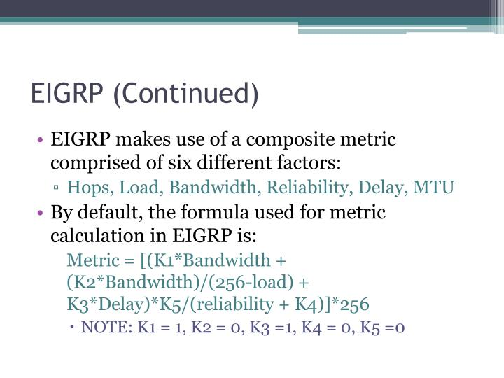 EIGRP (Continued)