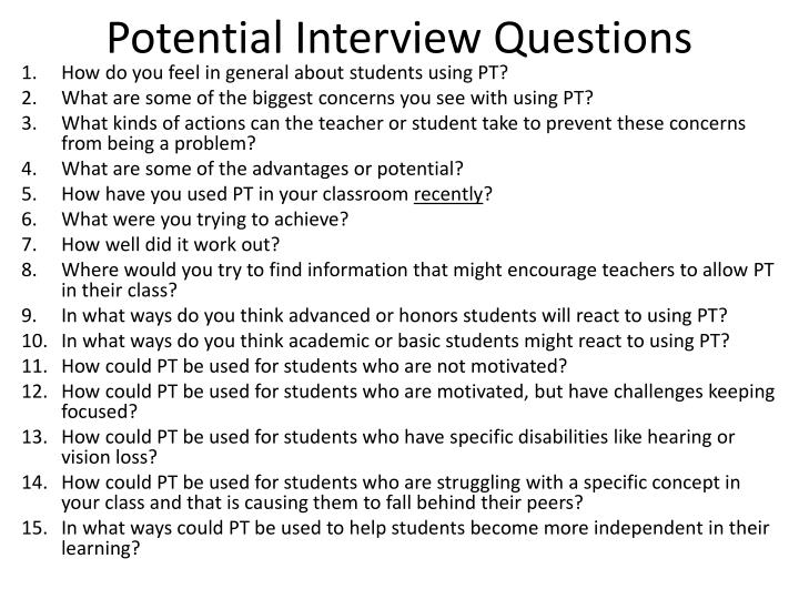 potential interview questions n.