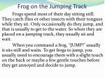 frog on the jumping track